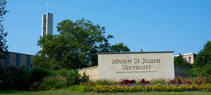 mount st joseph sign and steeple